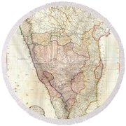 1793 Faden Wall Map Of India Round Beach Towel