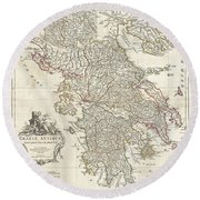 1794 Anville Map Of Ancient Greece  Round Beach Towel