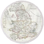 1794 Anville Map Of England In Ancient Roman Times Round Beach Towel