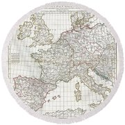 1794 Anville Map Of Europe In Late Roman Times Round Beach Towel