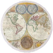 1794 Samuel Dunn Wall Map Of The World In Hemispheres Round Beach Towel by Paul Fearn