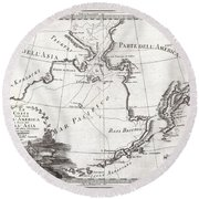 1798 Cassini Map Of Alaska And The Bering Strait Round Beach Towel