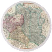1799 Cary Map Of Poland Prussia And Lithuania  Round Beach Towel