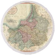 1799 Cary Map Of Prussia And Lithuania  Round Beach Towel