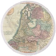 1799 Cary Map Of The Netherlands Round Beach Towel