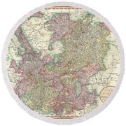 1799 Cary Map Of The Upper And Lower Rhine Round Beach Towel