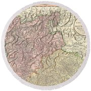 1799 Cary Map Of Tyrol Round Beach Towel