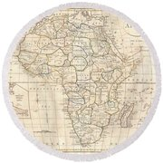 1799 Clement Cruttwell Map Of Africa  Round Beach Towel