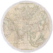 1799 Clement Cruttwell Map Of Asia Round Beach Towel