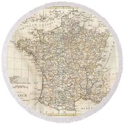 1799 Clement Cruttwell Map Of France In Departments Round Beach Towel
