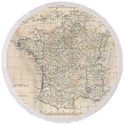 1799 Clement Cruttwell Map Of France In Provinces Round Beach Towel