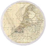 1799 Clement Cruttwell Map Of Holland Or The Netherlands Round Beach Towel