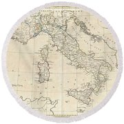 1799 Clement Cruttwell Map Of Italy Round Beach Towel