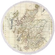 1799 Clement Cruttwell Map Of Scotland Round Beach Towel