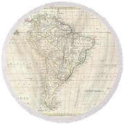 1799 Clement Cruttwell Map Of South America  Round Beach Towel