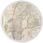 1799 Clement Cruttwell Map Of Sweden Denmark And Norway Round Beach Towel