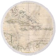 1799 Clement Cruttwell Map Of West Indies Round Beach Towel