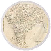 1799 Clement Crutwell Map Of Hindoostan Round Beach Towel