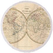 1799 Cruttwell Map Of The World In Hemispheres Round Beach Towel