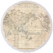 1799 Cruttwell Map Of The World On Mercators Projection Round Beach Towel