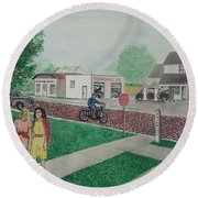 17th And Hutchins Street Portsmouth Ohio Round Beach Towel