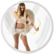 Cupid The God Of Desire Round Beach Towel by Ilan Rosen