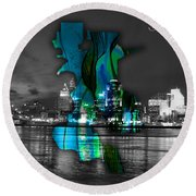 Sacramento Map And Skyline Watercolor Round Beach Towel
