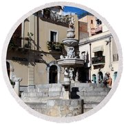 Another View Of An Old Unused Fountain In Taormina Sicily Round Beach Towel