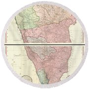 1800 Faden Rennell Wall Map Of India Round Beach Towel