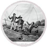 1800s Three 19th Century Men In Boat Round Beach Towel