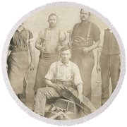 1800's Vintage Photo Of Blacksmiths Round Beach Towel