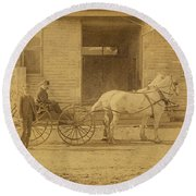 1800's Vintage Photo Of Horse Drawn Carriage Round Beach Towel