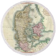 1801 Cary Map Of Denmark Round Beach Towel
