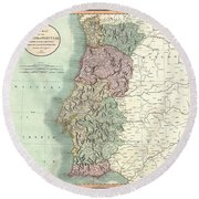 1801 Cary Map Of Portugal Round Beach Towel