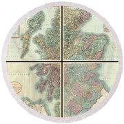 1801 Cary Map Of Scotland  Round Beach Towel