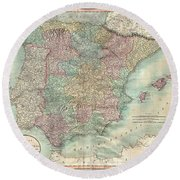 1801 Cary Map Of Spain And Portugal Round Beach Towel
