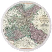 1801 Cary Map Of Upper Saxony Germany  Berlin Dresden Round Beach Towel