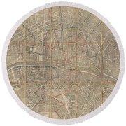 1802 Chez Jean Map Of Paris In 12 Municipalities France Round Beach Towel