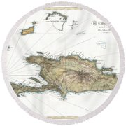 1802 Tardieu Map Of Santo Domingo Or Hispaniola West Indies Round Beach Towel