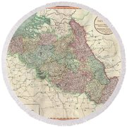 1804 Cary Map Of Belgium And Luxembourg Round Beach Towel