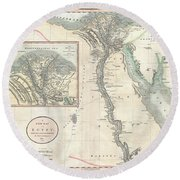 1805 Cary Map Of Egypt Round Beach Towel