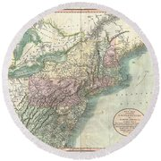1806 Cary Map Of New England New York Pennsylvania New Jersey And Virginia Round Beach Towel