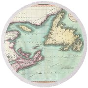 1807 Cary Map Of Nova Scotia And Newfoundland Round Beach Towel