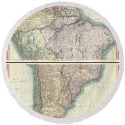 1807 Cary Map Of South America Round Beach Towel
