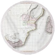 1809 Pinkerton Map Of Southern Africa Round Beach Towel