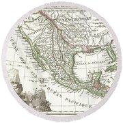 1810 Tardieu Map Of Mexico Texas And California Round Beach Towel