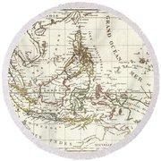 1810 Tardieu Map Of The East Indies Singapore Southeast Asia Sumatra Borneo Java Round Beach Towel
