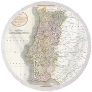 1811 Cary Map Of The Kingdom Of Portugal Round Beach Towel