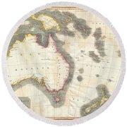 1814 Thomson Map Of Australia New Zealand And New Guinea Round Beach Towel