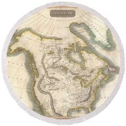 1814 Thomson Map Of North America Round Beach Towel